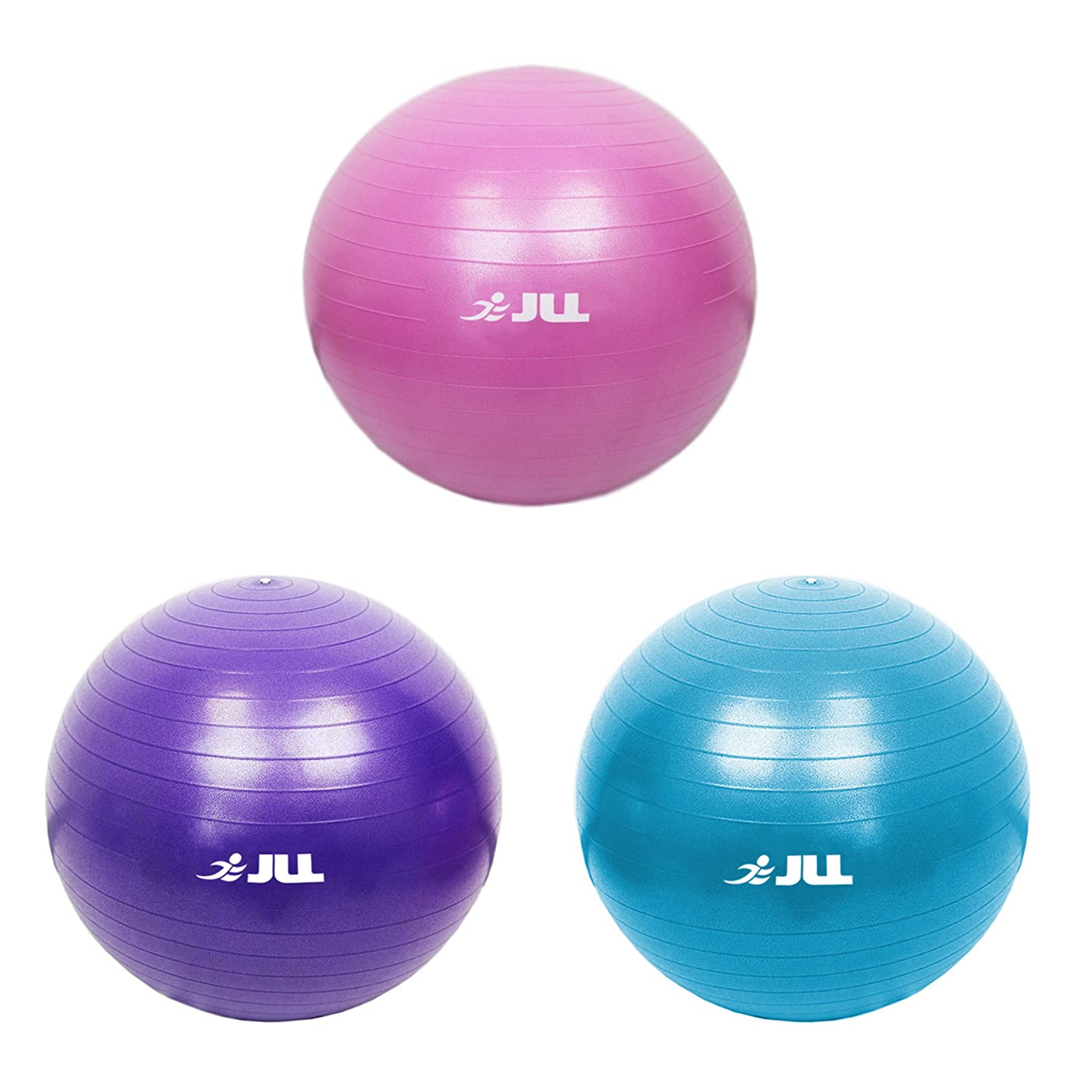 JLL® Anti-Burst Fitness Ball, 75cm diameter, Eco friendly with no smell, Foot Air Pump included, Boxed product Boxed product (Blue)