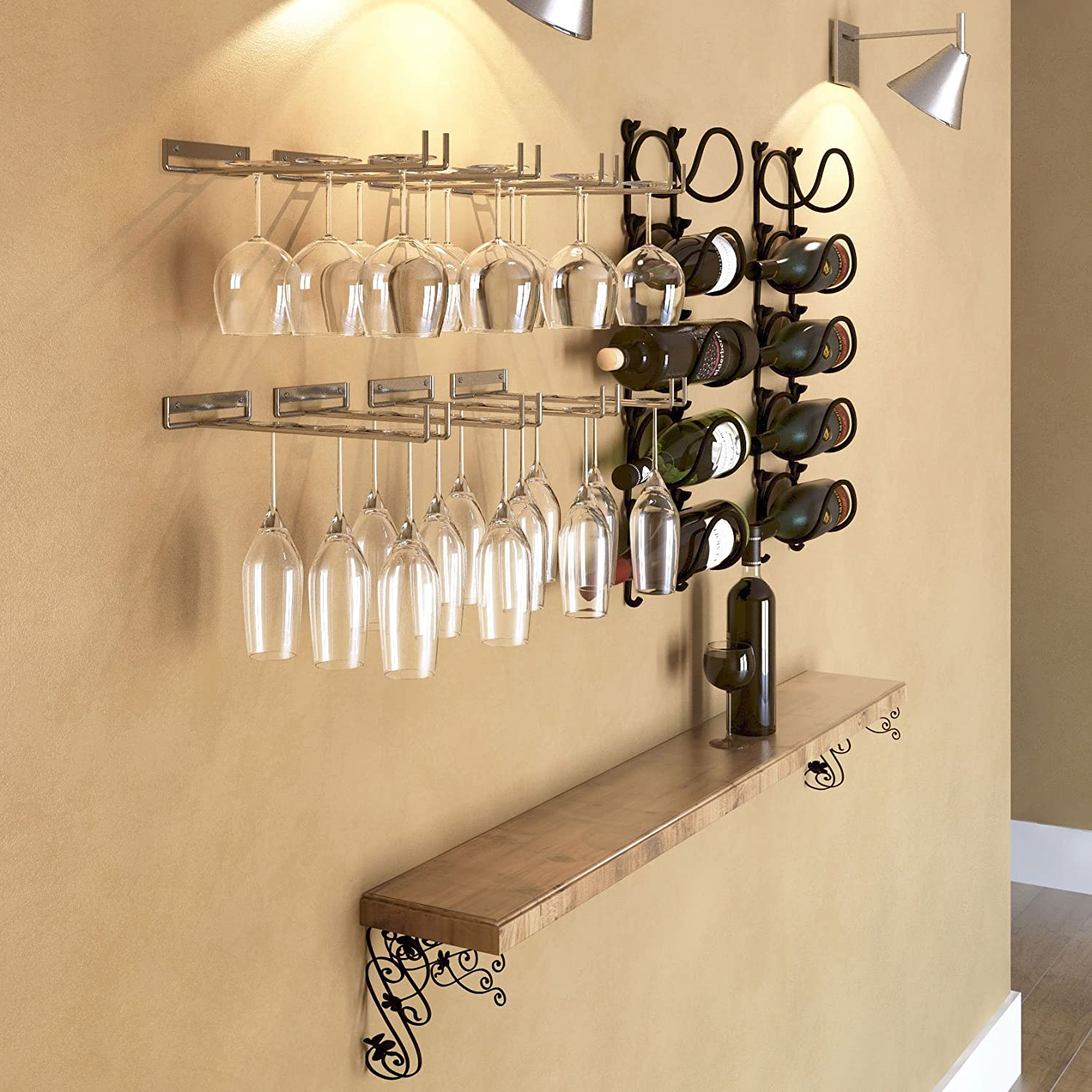 Amazon.com: Wallniture Stemware Wine Glass Rack Holder Wall Mount ...