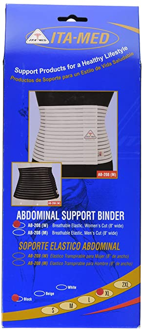 ITA-MED Womens Breathable Abdominal/Back Support Binder AB-208: Black X