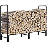 femor Log Rack, 4 Feet Outdoor Firewood Rack, Heavy Duty Rack Steel Log Storage Log Holder, Wood Stacker, Rack Holder…