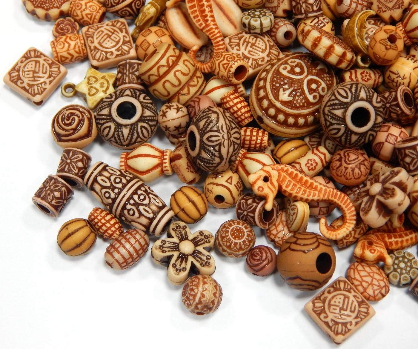 Juego de 50 g de Perlas de plástico de Tibet Antiguas, Perlas de plástico de Colores Variados, Perlas acrílicas para Collares, Pulseras, Collares, Juego de Manualidades D123