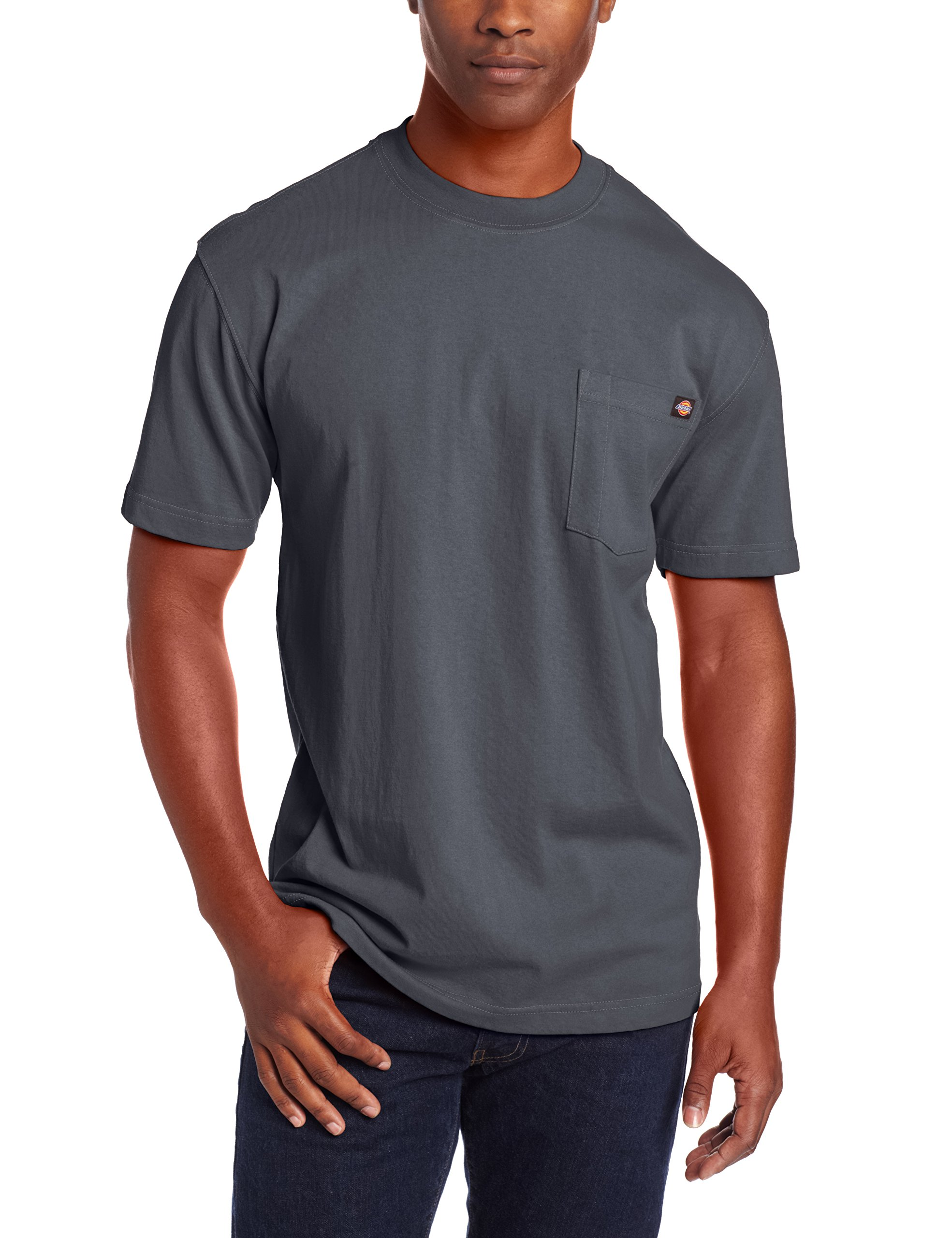 Dickie's Men's Short Sleeve Heavyweight Crew Neck Pocket T-Shirt, Charcoal, Large