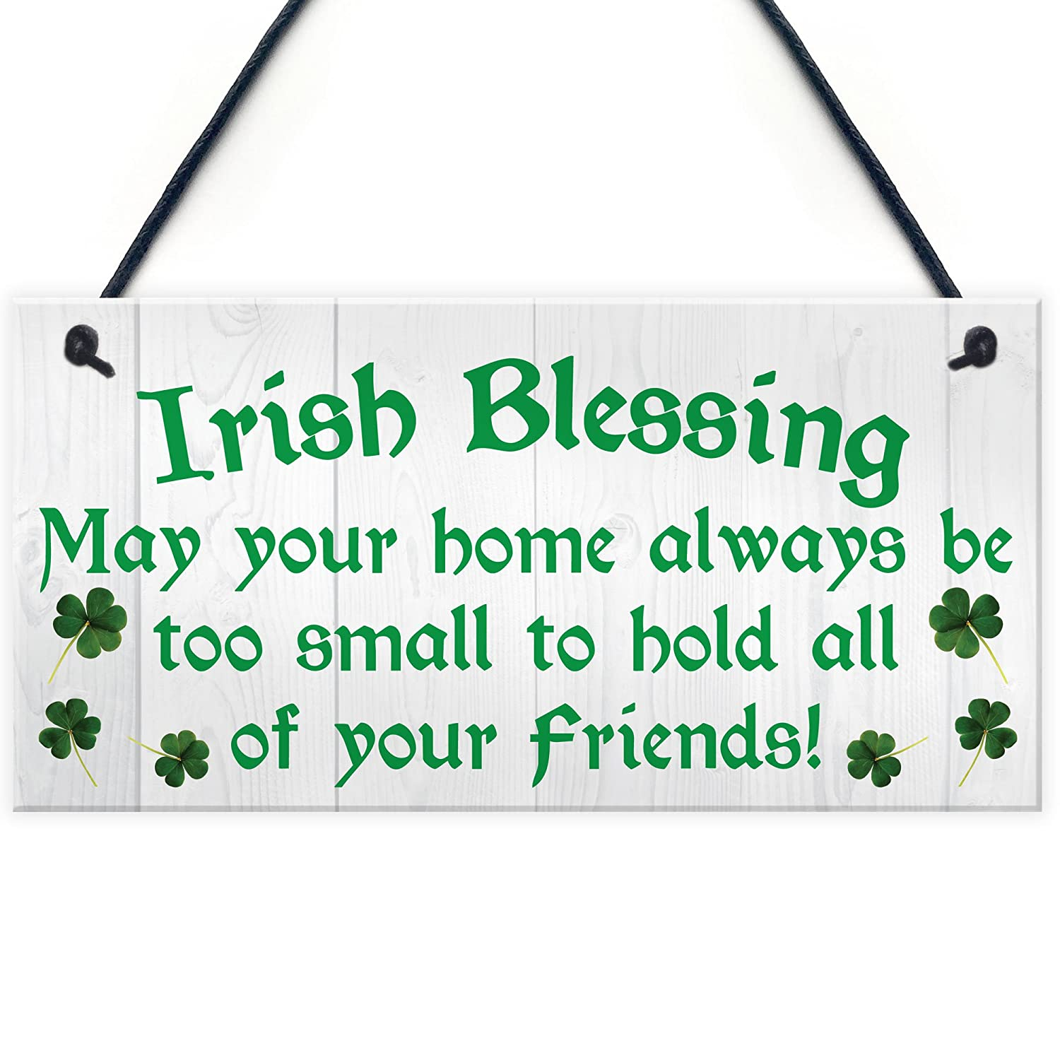 Red Ocean Irish Blessing Friendship Novelty Hanging Plaque Lucky Home St Patricks Day Sign