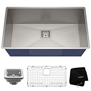 KRAUS Pax 31 1/2-inch 16 Gauge Undermount Single Bowl Stainless Steel Kitchen Sink, KHU32