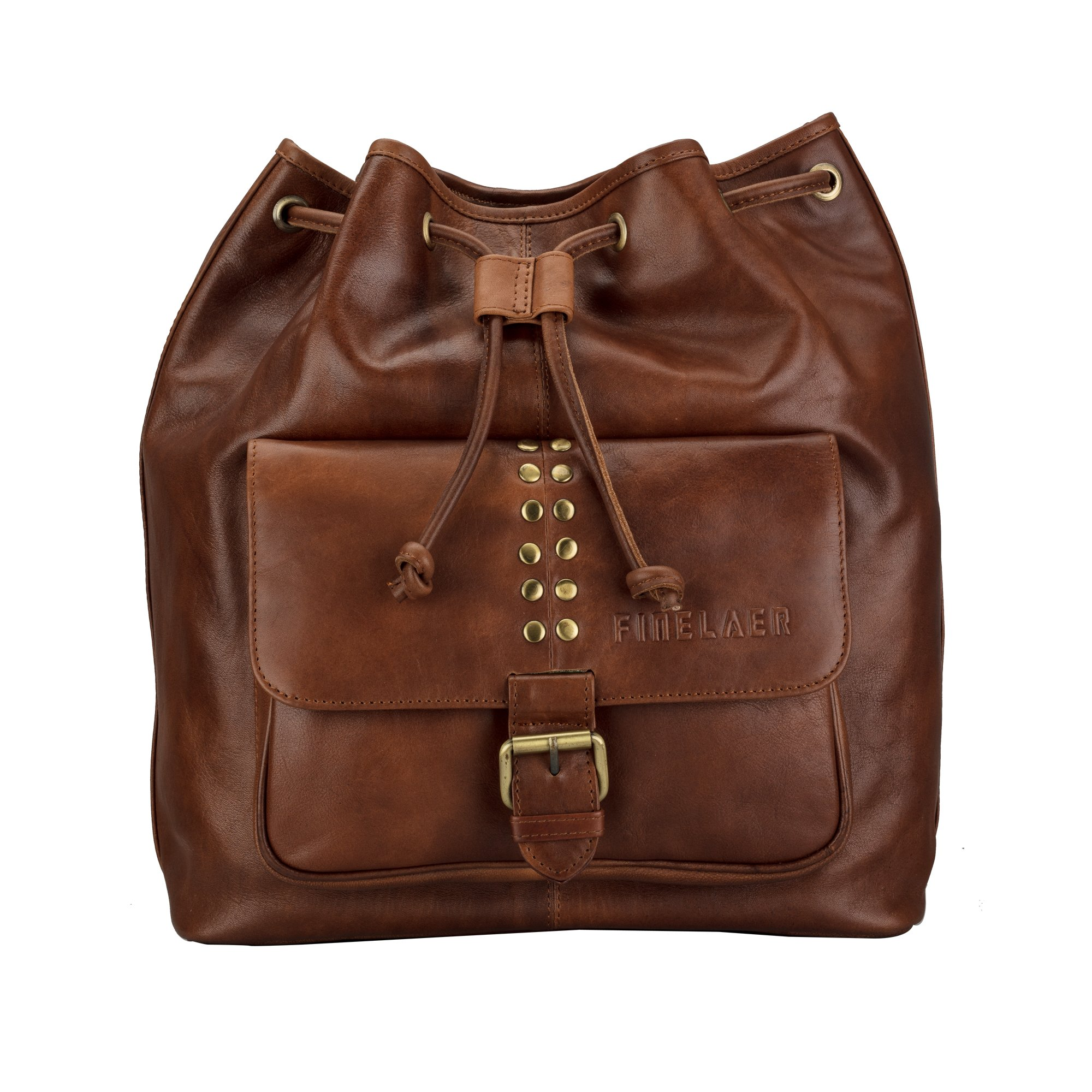 Finelaer Women Girls Leather Backpack College Laptop Purse Bag Brown with Drawstrings