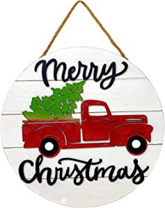 """STC World Merry Christmas Wooden Sign Holiday New Year Decoration Indoor Outdoor Vintage Red Truck 12"""" Round (White)"""