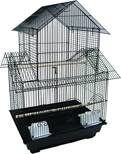 YML 5944 3 8 Bar Spacing Pagoda Bird Cage with Stand, 18 x 18 Small, Black