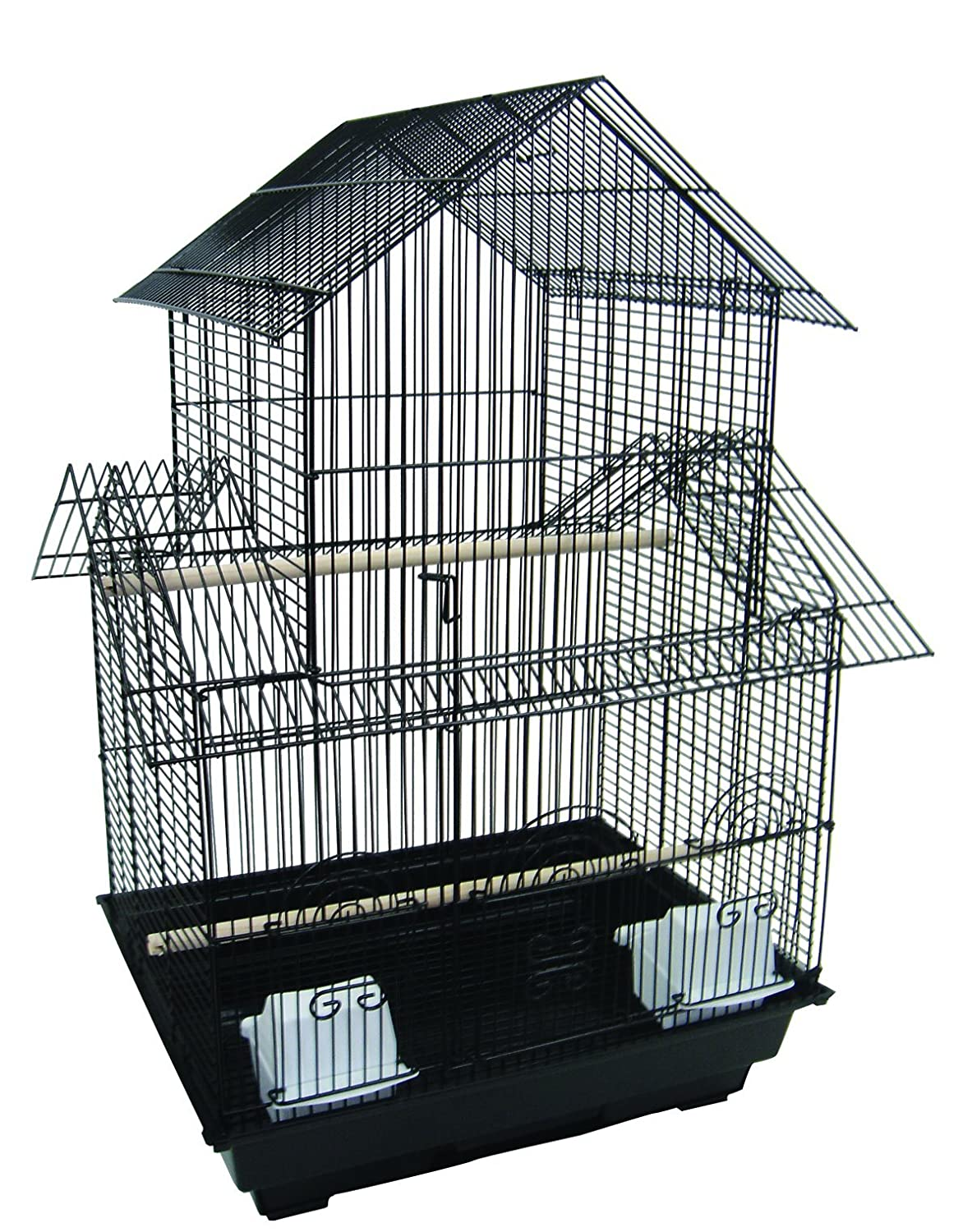 YML A5944 3/8-Inch Bar Spacing Pagoda Small Bird Cage, 18-Inch by 18-Inch, White A5944WHT