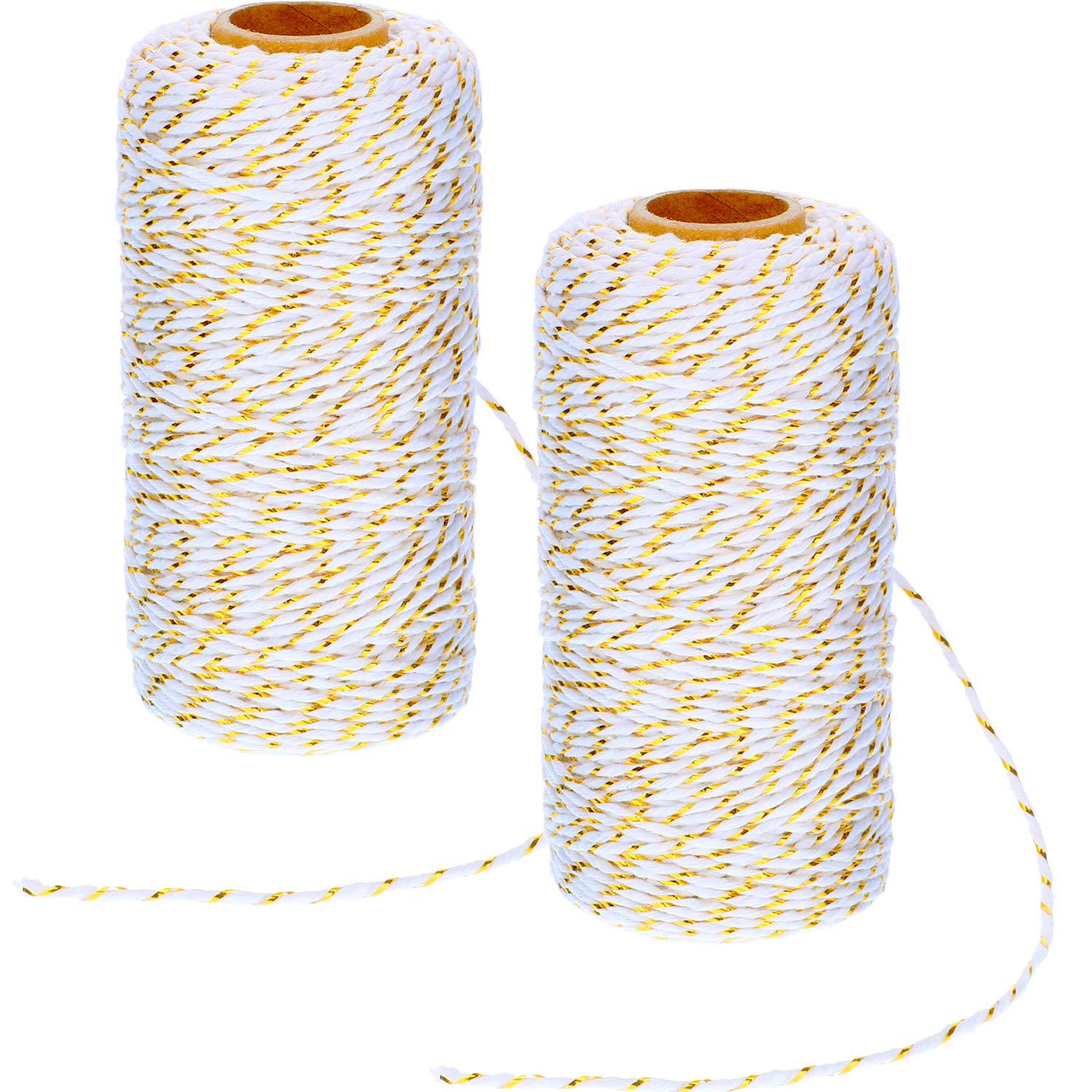 Pangda 2 Rolls Christmas Twine 2 mm Gift Wrapping Twine Cotton Bakers Twine with Gold Wire for Christmas DIY Party Supplies, 656 Feet Totally (Red/Green)