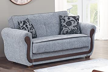 BEYAN Surf Avenue Collection Upholstered Convertible Storage Love Seat With  Easy Access Storage Space, Includes