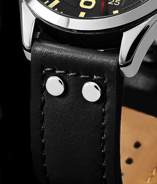 Stuhrling Original Reloj de Cuero para Hombre - Esfera de Reloj de aviación Negra, Juego rápido de día, Correa de Cuero con Remaches de Acero, 699 colección ...