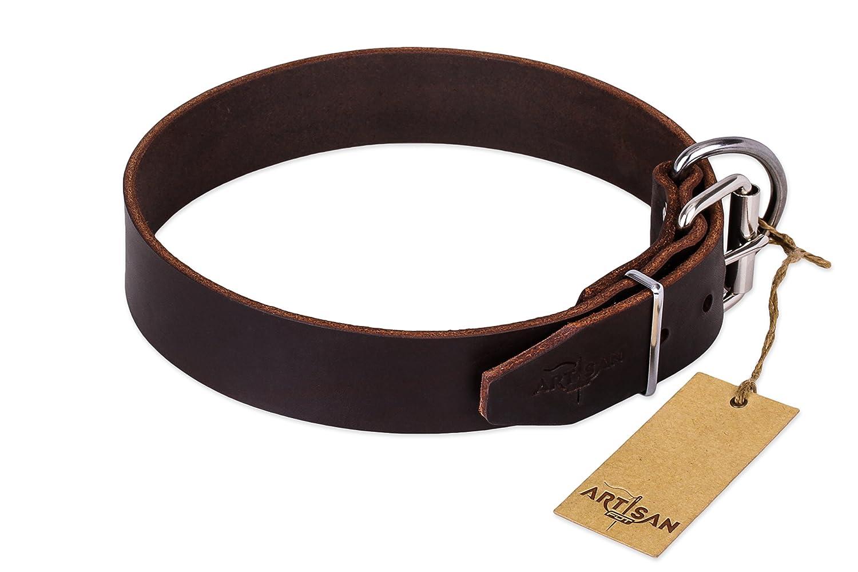Marrón diseño clásico collar de perro por Artisan de piel Para a ...