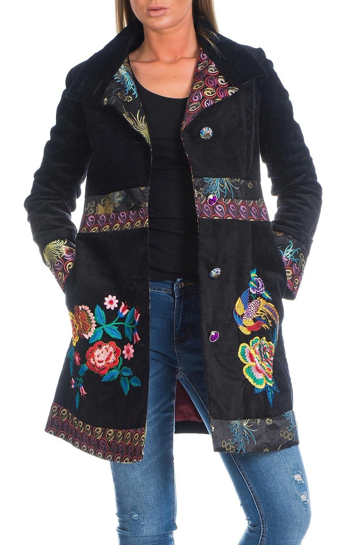 Damen Mantel Fernöstlich Schwarz Jacke Cord Stickereinen Geblümt Knopfleiste Gr. S/M - L/XL
