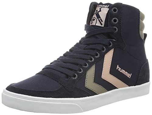 Hummel Unisex Adults' Slimmer Stadil Duo Canvas High Hi-Top Sneakers, Blue (