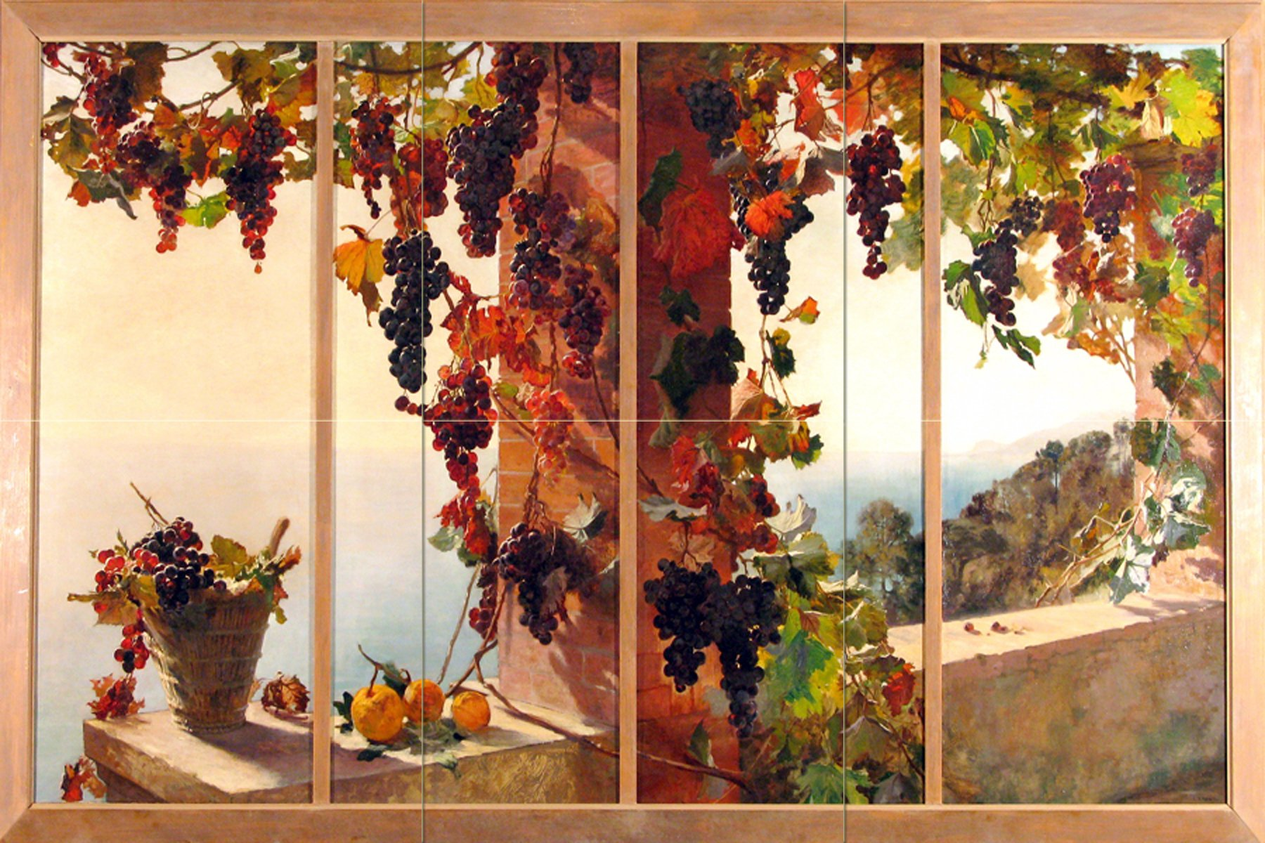 View from the window grape vine sea by RUTH MERCIER Tile Mural Kitchen Bathroom Wall Backsplash Behind Stove Range Sink Splashback 3x2 12'' Ceramic, Matte by FlekmanArt