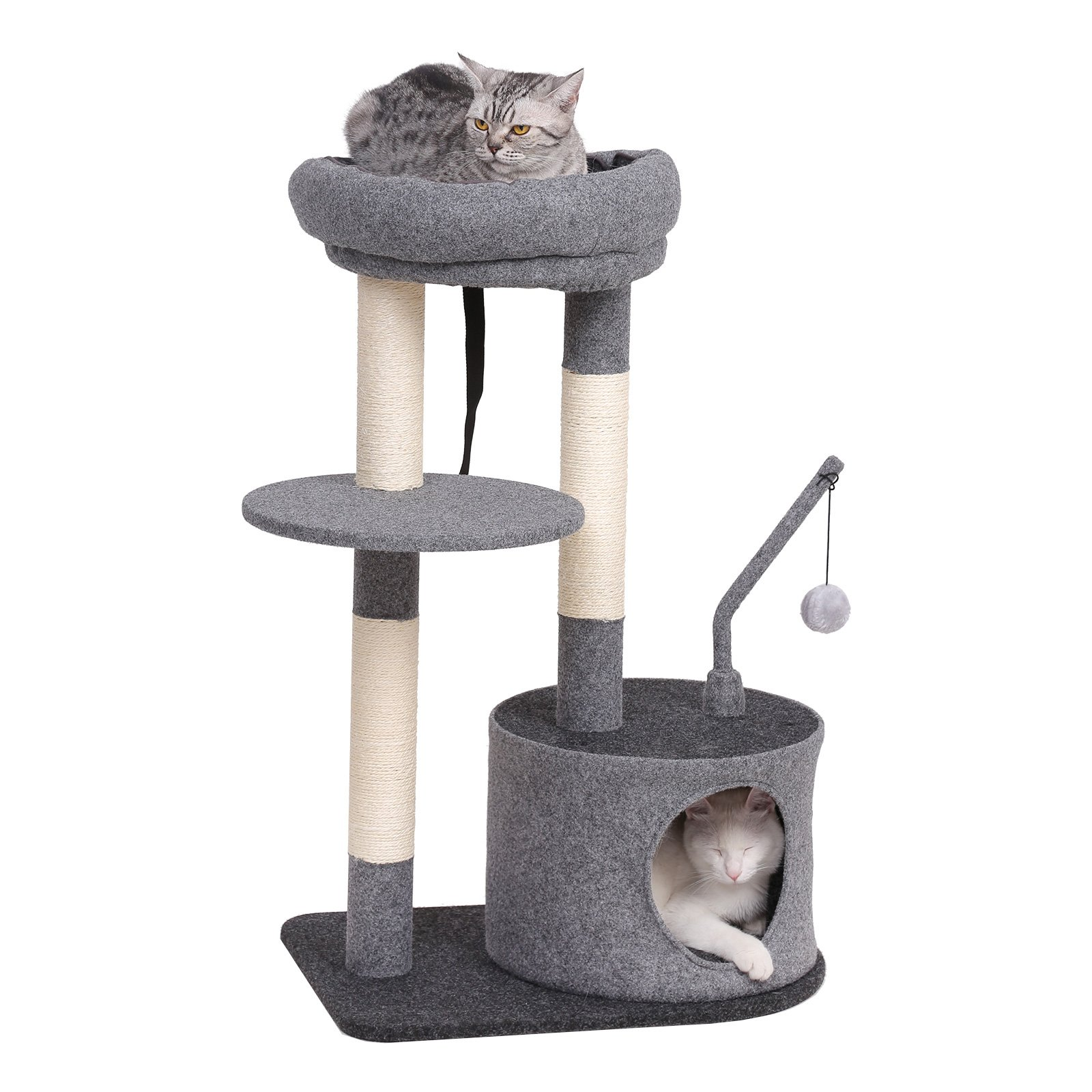 SONGMICS Cat Tree with Sisal-Covered Scratching Posts, Padded Condo and Top Perch, Activity Centre Playhouse Cat Tower Furniture, Felt Surface, Smoky Grey UPCT62G