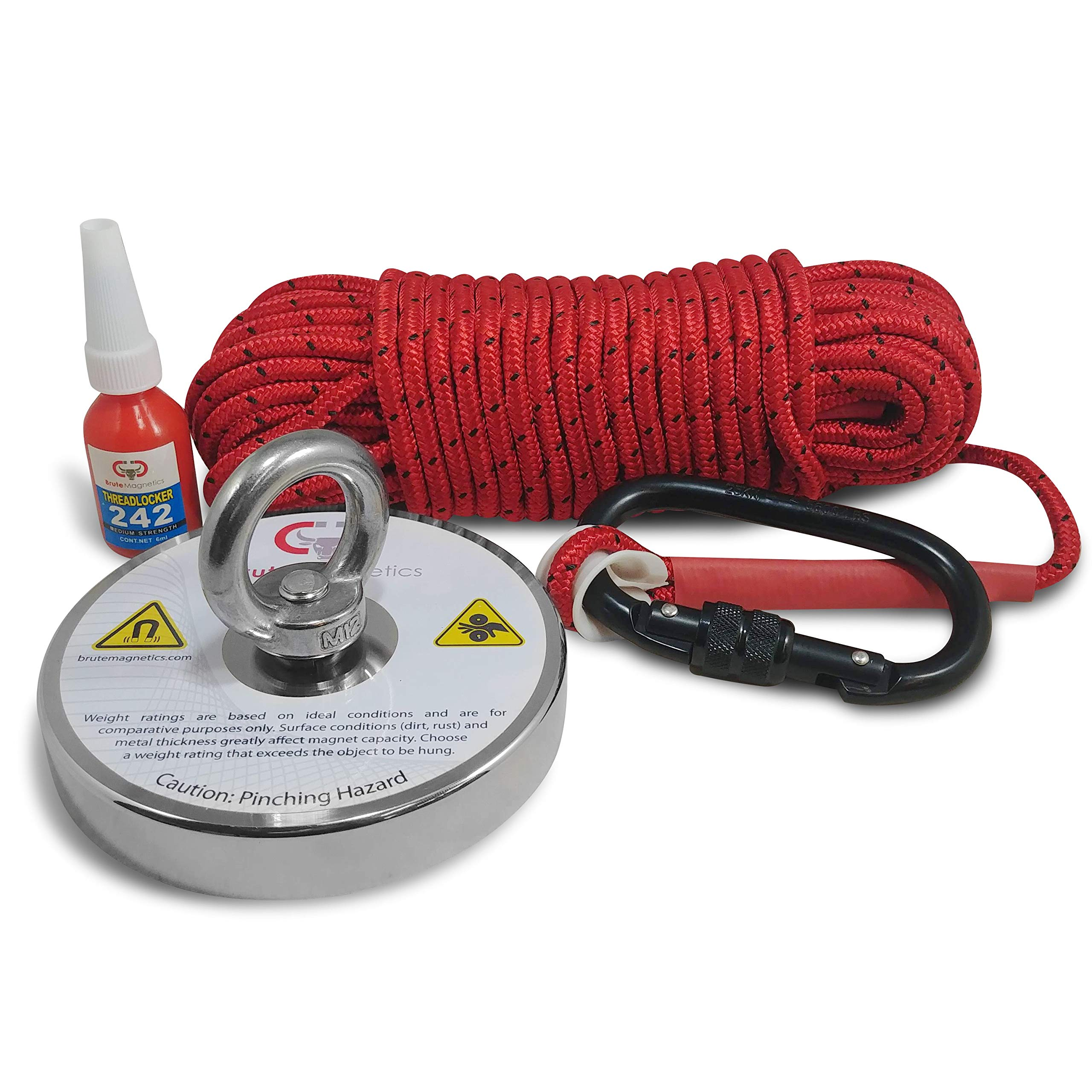 1200 LBS Magnet Fishing Bundle - Brute Magnetics Round Neodymium Fishing Magnet with Countersunk Hole and Eyebolt, 4.72'' Diameter Bundle w/ 65 feet of 1/4'' Rope + Carabiner - Includes Threadlocker