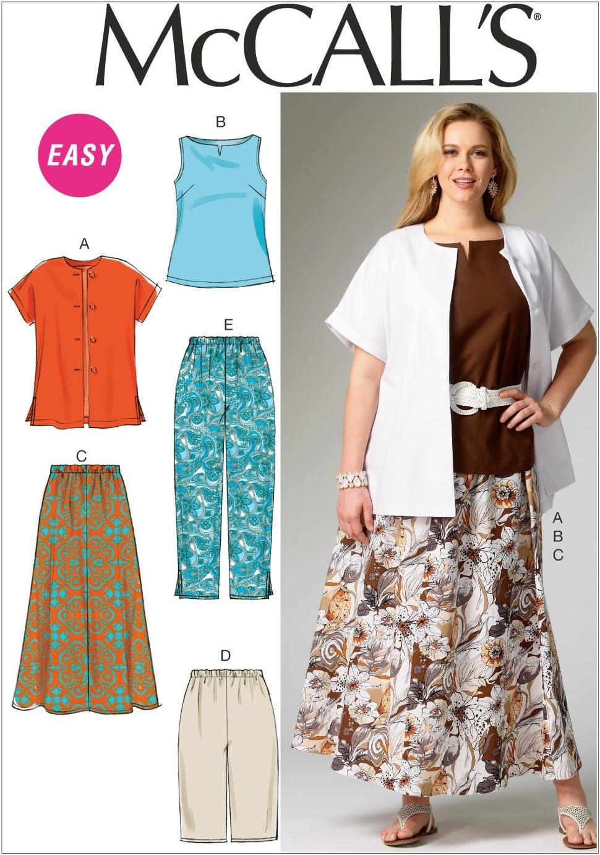 30-32 Womens Shirt Top Skirt and Pants McCall/'s Patterns MC6970 KK Sizes 26-28