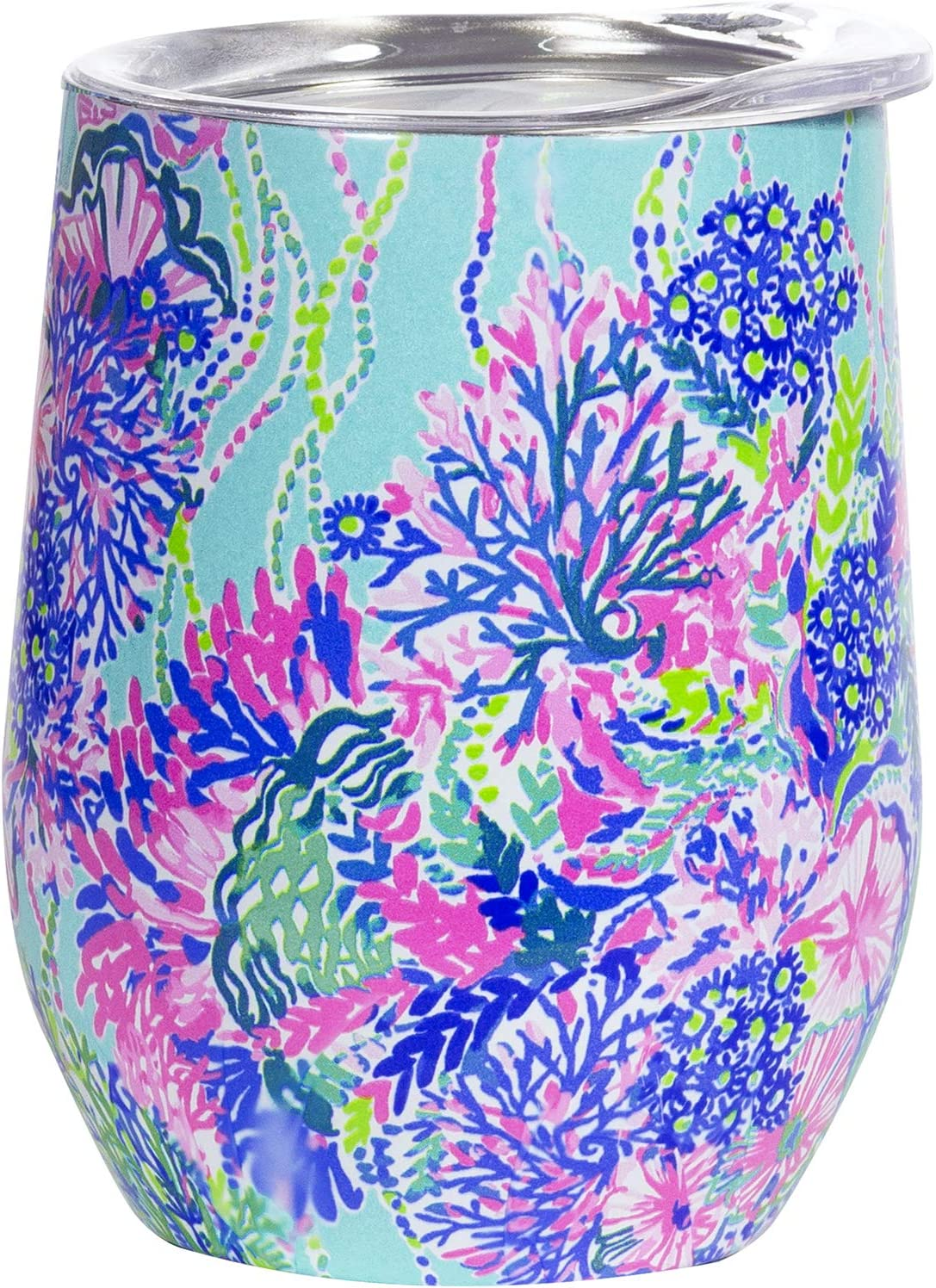 Lilly Pulitzer 12 Ounce Insulated Stemless Wine Tumbler with Lid, Stainless Steel Travel Cup, Beach You To It