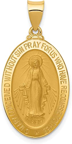 Gold Miraculous Medal Reversible Pendant Medal of Our Lady of Grace 14 Karat Solid Gold Charm America Virgin Mary