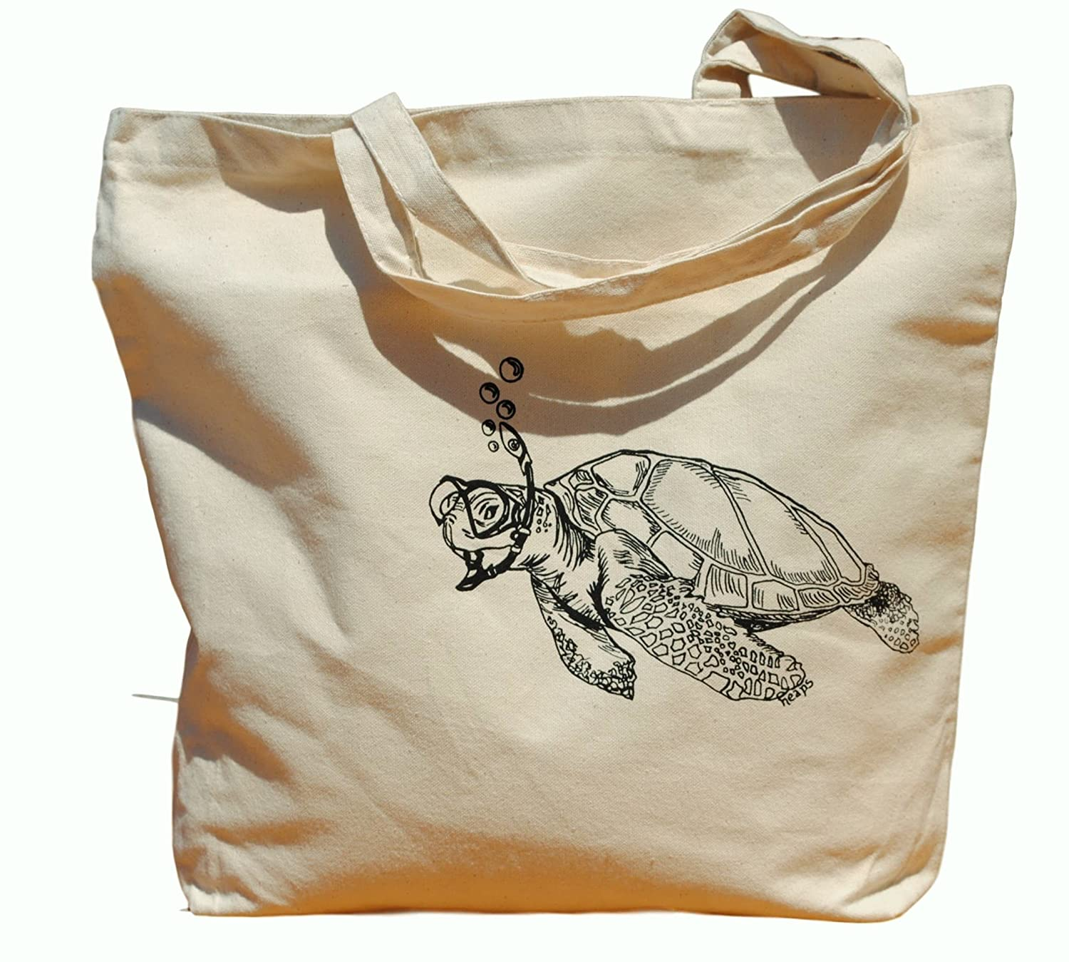 Canvas Tote Bag - Hand Printed Snorkeling Turtle - Market Travel Beach Shopper Grocery School