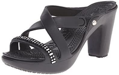 crocs Womens Cyprus IV Rhinestone Heel Dress Sandal BlackBlack 10 B