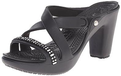 crocs Womens Cyprus IV Rhinestone Heel Dress Sandal BlackBlack 10 B