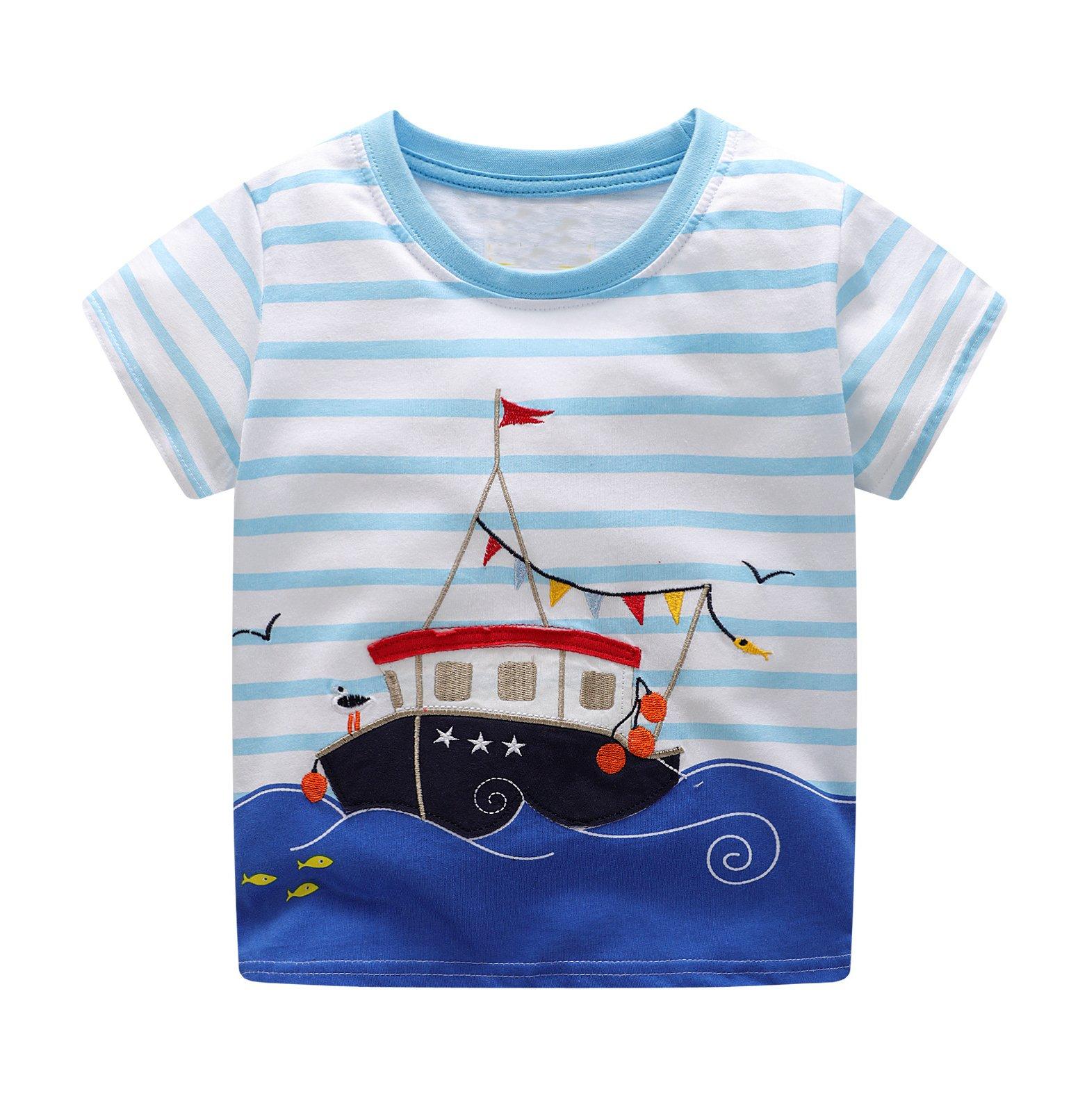 BEILEI CREATIONS Little Boys Summer Cotton Strip T Shirt,Summer Short Sleeve T-Shirt Clothes (18M-24M, Blue Ship) by BEILEI CREATIONS (Image #1)