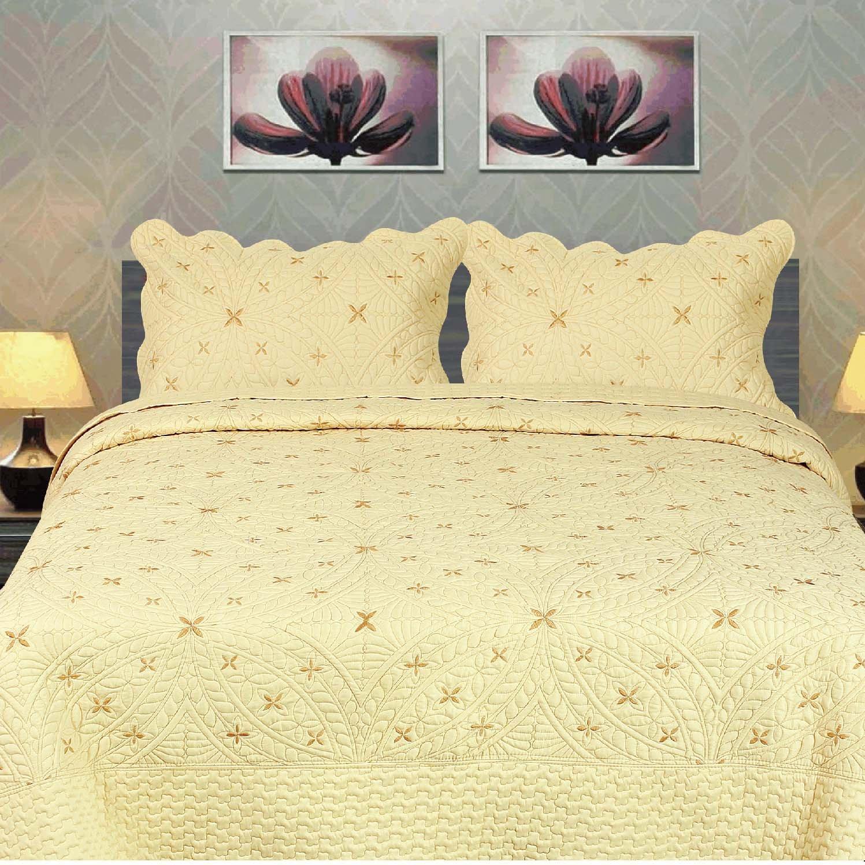 Tache Yellow Geometric Golden Stars Reversible 3 Piece Bedspread Set, California King