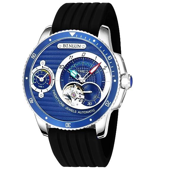 BINLUN automático y Cuarzo Hombres del Reloj Dos Temporizador Dial Luminoso Manos Impermeable Relojes para Hombres: Amazon.es: Relojes