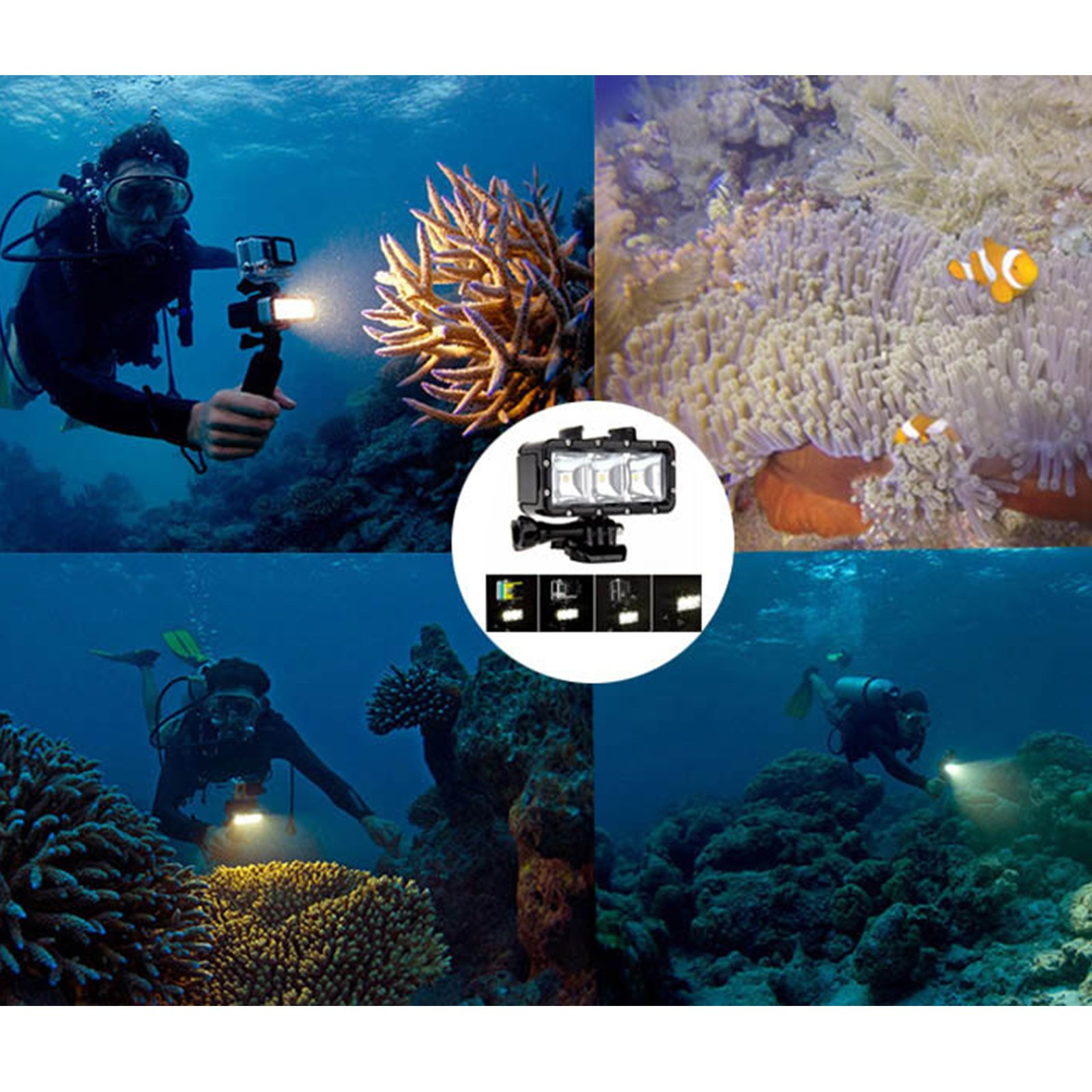 SHOOT Waterproof 30m Diving Light High Power Dimmable LED Underwater Fill Light for GoPro Hero 6/5/5S/4/4S/3+,Campark AKASO DBPOWER Crosstour SHOOT Camera with 1200mAh Built-in Rechargeable Battery by SHOOT (Image #6)