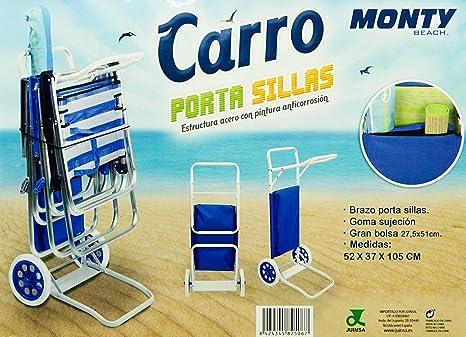 Monty Beach Carro Porta Sillas (2 Unidades): Amazon.es: Jardín