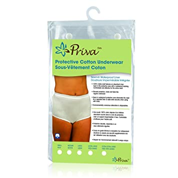 e4f18e085 Image Unavailable. Image not available for. Color  Priva Women s Protective  100% Cotton Underwear with Sewn in Waterproof Liner ...