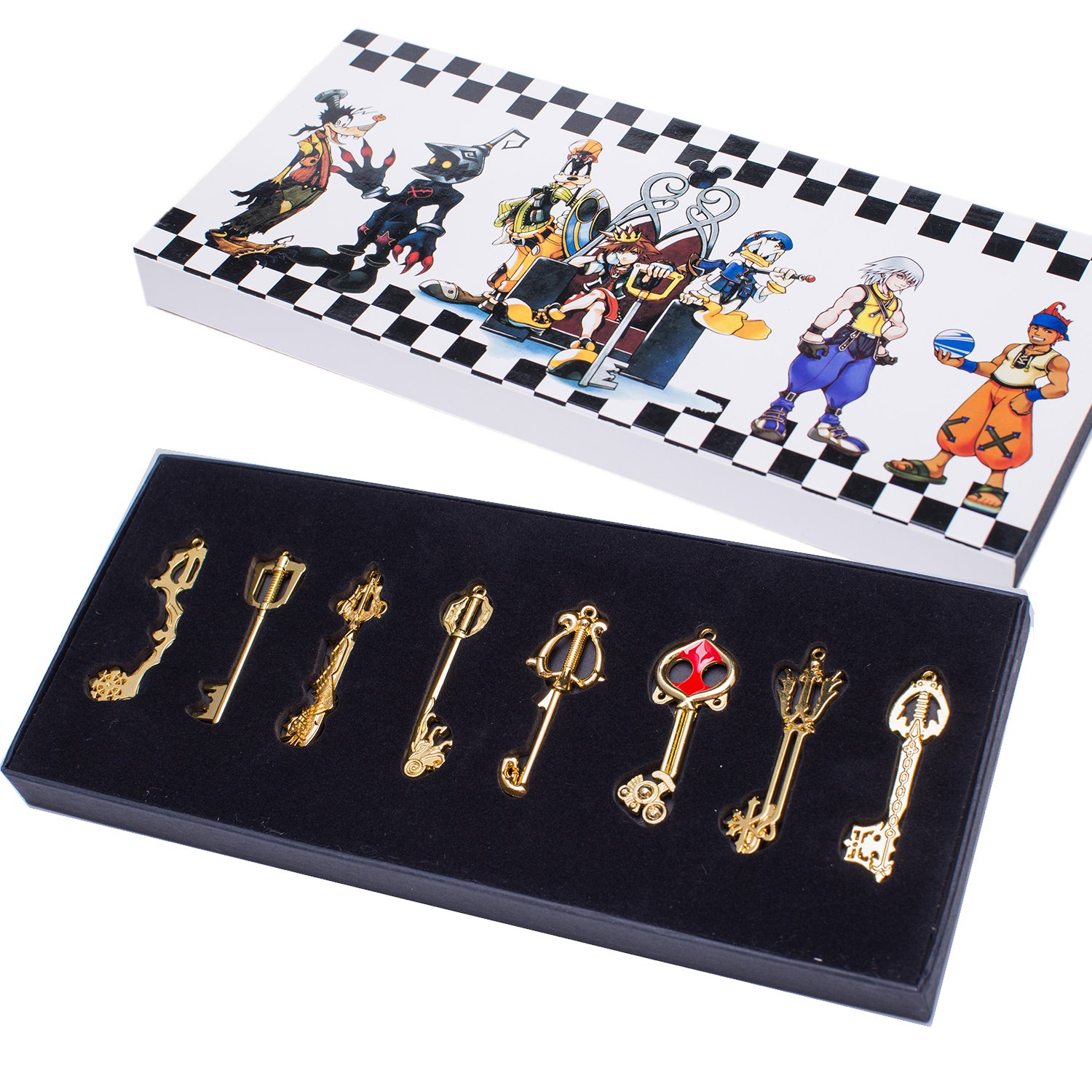 XCOSER® Kingdom Hearts Keyblade Sora Weapon Keychain Pendant for Collection Golden 8pcs