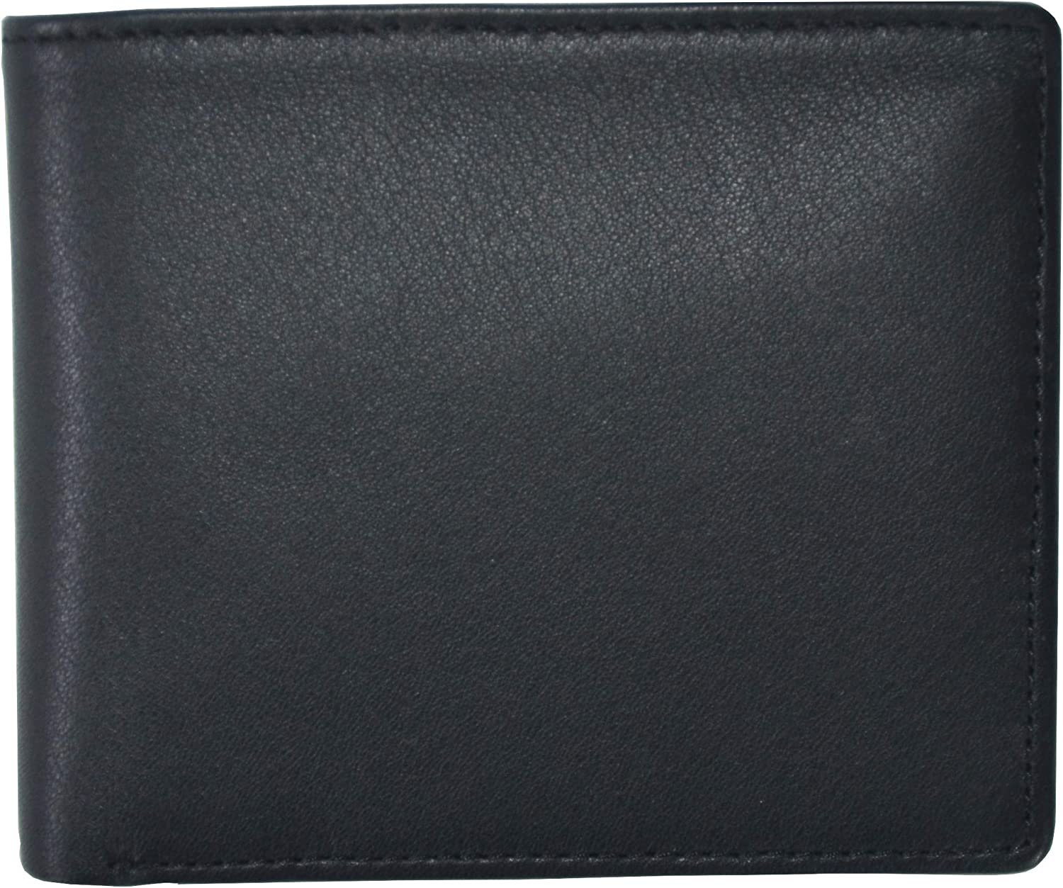 Black and Red Royce Leather Mens RFID Blocking Bifold Wallet in Leather with Double Id Display