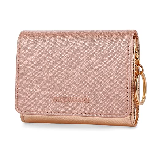 0c1f2528dd44 Rose Gold Leather Coin Purse Key Chain Credit Card Wallet Card Holder with Key  Ring and