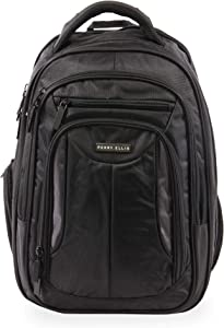Perry Ellis M160 Business Laptop Backpack, Black, One Size