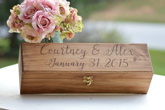 Amazon Personalize Wine Box Rustic Wedding Wine Ceremony Wood