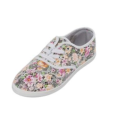 Brandsseller Damen Freizeitschuh mit schöner Spitze im Blumenmuster - Leinenschnürer  Ballerina Sneaker - Weiß - Gr 477ff6eb47