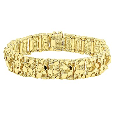 gold miami yellow solid mens link bracelet thick cuban mm inches