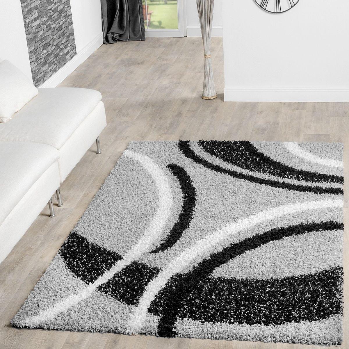 T&T Design Moderner Hochflor Teppich Shaggy Vigo Gemustert in Grau Schwarz Creme Top Preis , Größe 240x320 cm