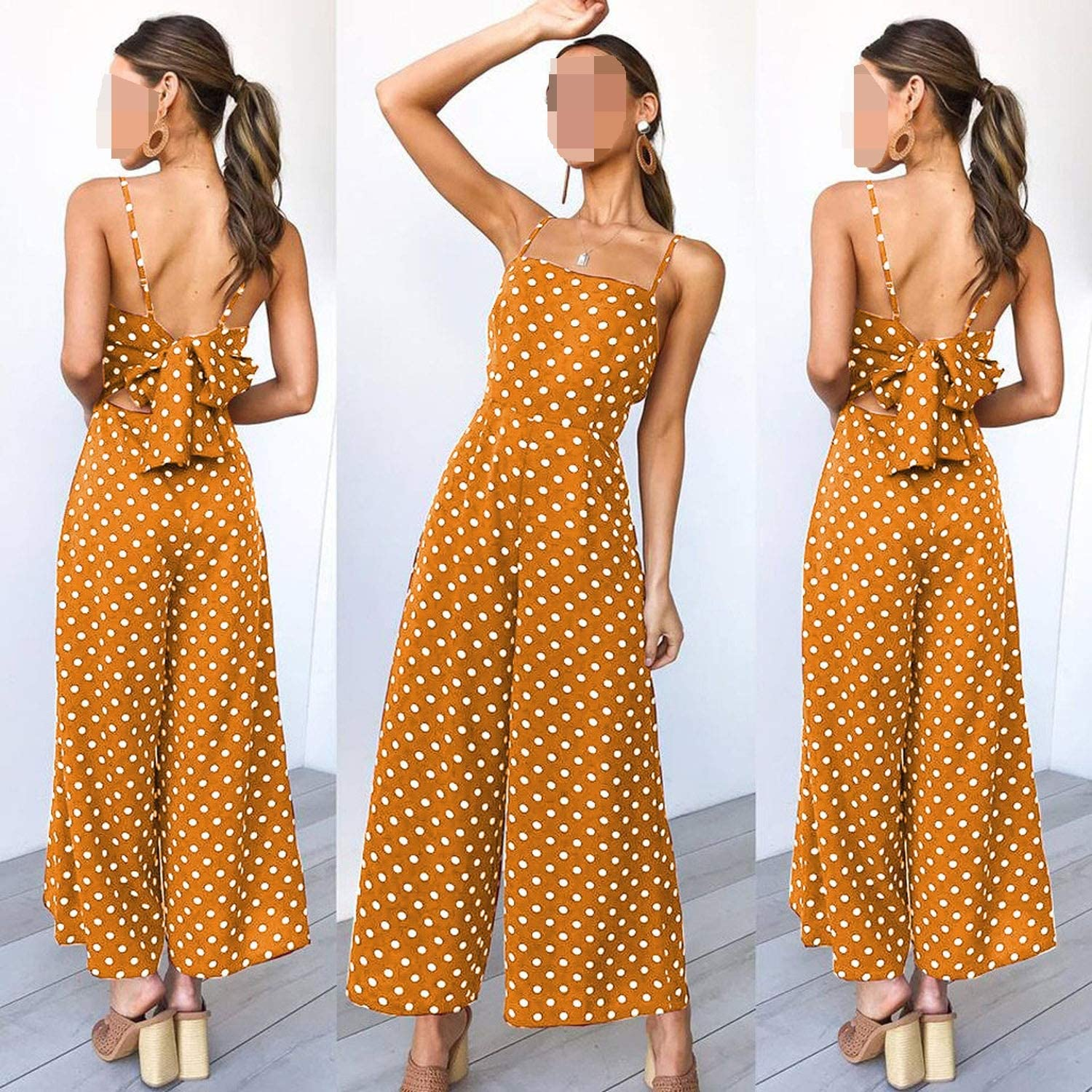Bodysuit Women Summer Fashion Polka Dot Holiday Wide Leg Pants Long Jumpsuit M7,BK,XL