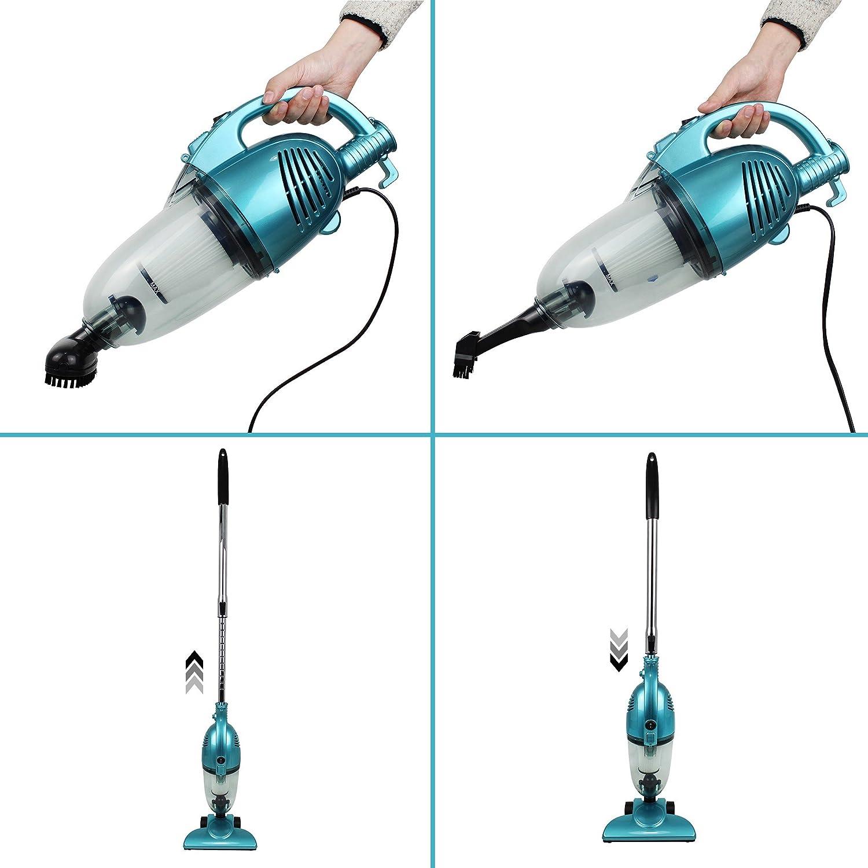 Leogreen - Aspiradora 2 en 1 Vertical y De Mano, Aspiradora Sin Bolsa, Azul, Capacidad del recipiente de polvo: 1,3 L, Sistema de filtrado: Filtro HEPA Sistema de filtración eficiente y lavable: Amazon.es: Hogar