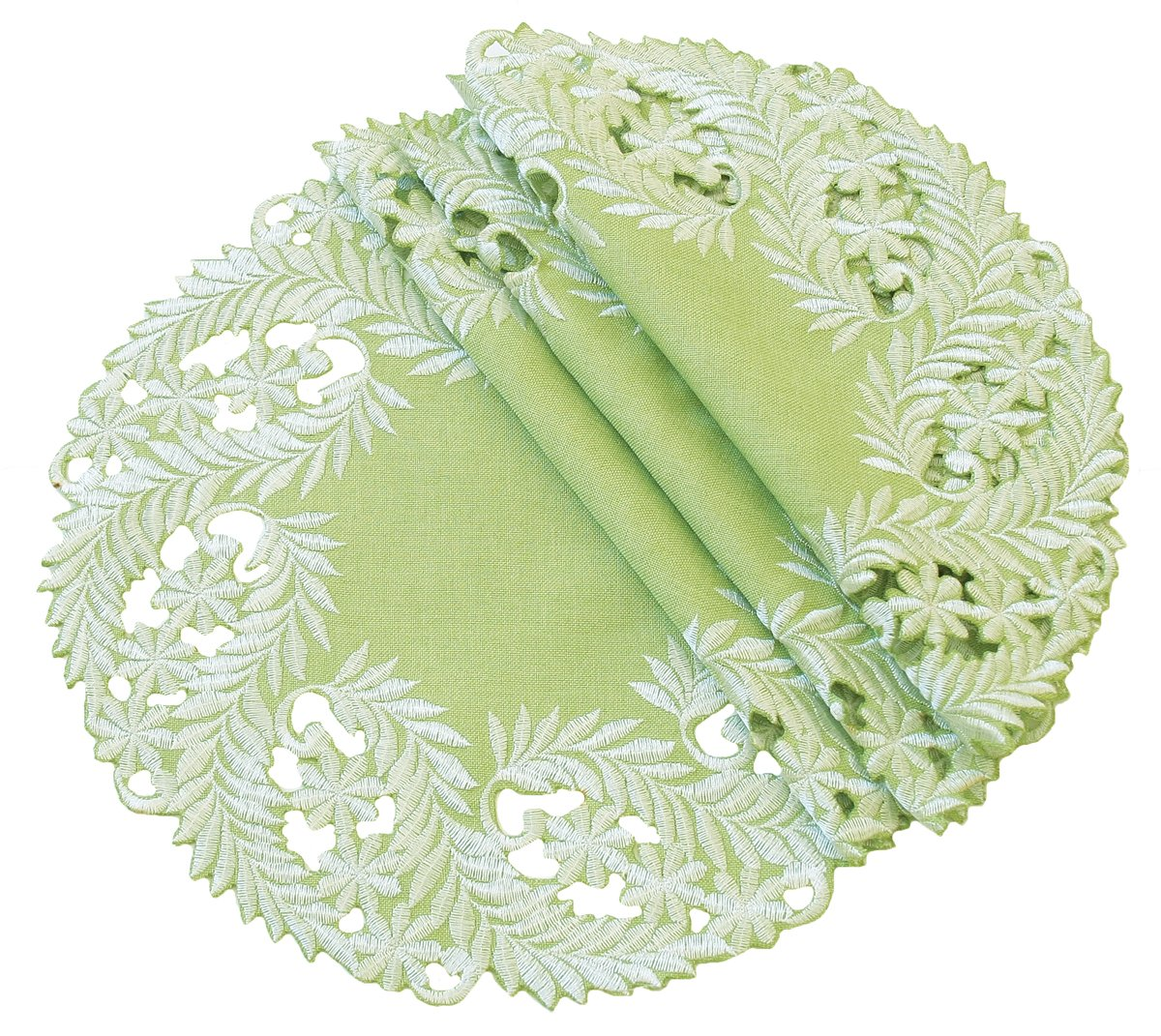 Xia Home Fashions Laurel Embroidered Cutwork Doilies, 16-Inch Round, Green, Set of 4 by Xia Home Fashions