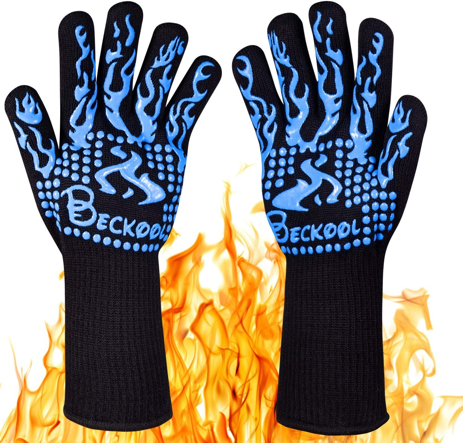 Beckool Heat Resistant BBQ Gloves, Barbecue Accessories Oven Mitts 932℉ for Kitchen, Cooking, Grilling, Baking