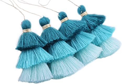 Tiny Mini Tri-layers Craft Layered Tassels with Golden Jump Ring KONMAY 10pcs 1.4 3.5CM
