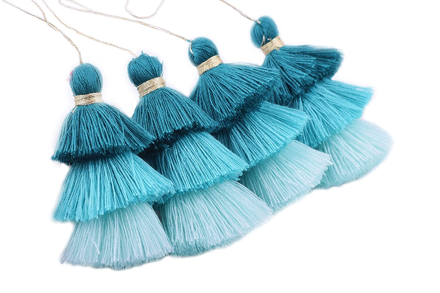 KONMAY 4pcs Tri-Layered Tassels with Hanging Loop for Jewelry Making Clothing