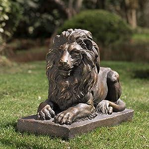 Glitzhome GH20388 Guardian Lion Garden Statue Outdoor Sculpture Decorative, 21.65