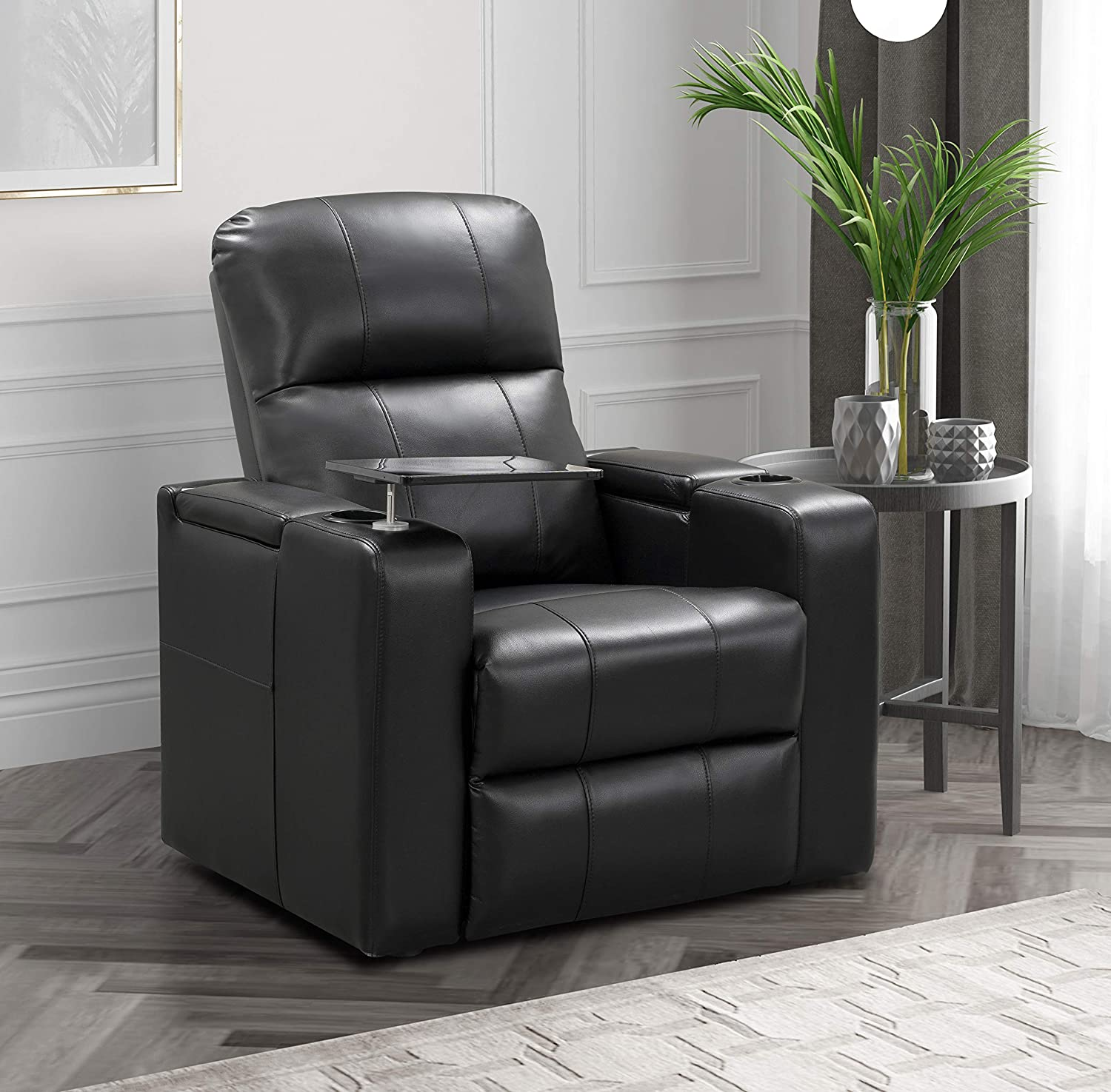 Abbyson Living Faux Leather Upholstered Power Recliner with Side Table Theater Armchair, Black
