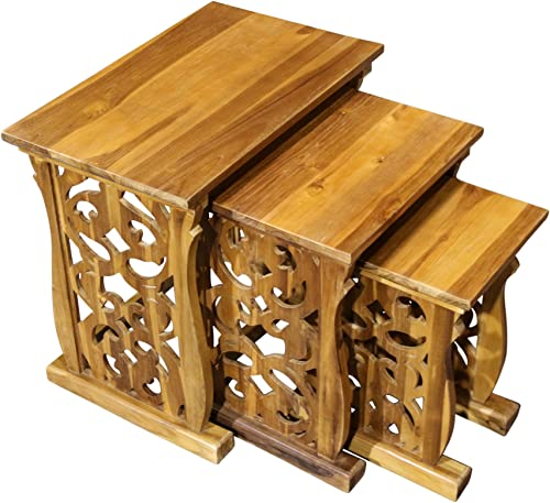 AlaTeak Indoor Outdoor Patio Teak Nesting Table